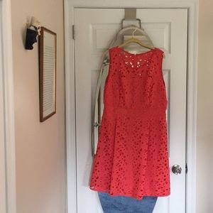 Apricot lace sleeveless dress
